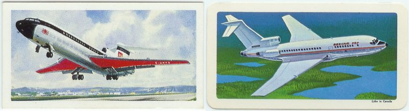 Modern Jet Airliner on Left (British) - Boeing 727 on Right (Red Rose)