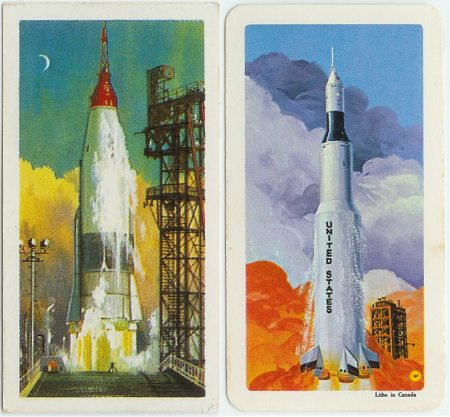 Space Rocket on Left (British) - Apollo Space Rocket on Right (Red Rose)